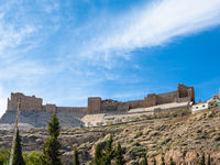 blue sky over Kerak Castle in Joordan