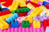 Colored plastic toy bricks