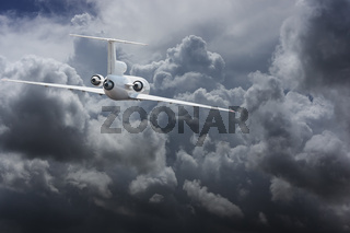 Civil airliner head to thunderstorm clouds