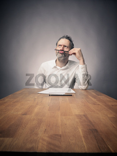 Crazy business man at work