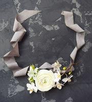 White ranunculus on black background