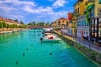 Peschiera del Garda colorful waterfront and Italian architecture view