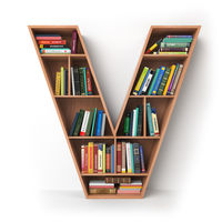 Letter V. Alphabet in the form of shelves with books isolated on white.