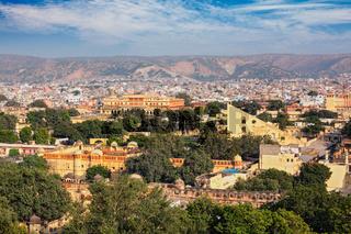 Panorama of aerial view of Jaipur, Rajasthan, India