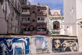 Painted wall in Havana
