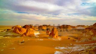 Panorama of El-Agabat valley,White desert, Sahara, Egypt