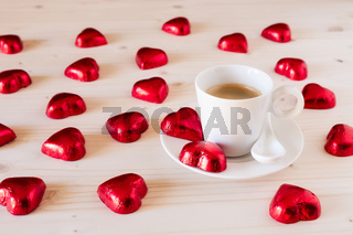 Chocolate hearts for romantic day