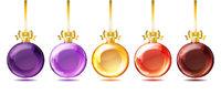 Set of bright glass christmas balls