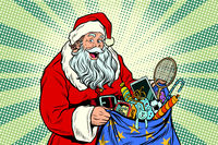 Santa Claus with bag of toys