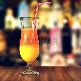 3D rendering glass with tropical cocktail and straw