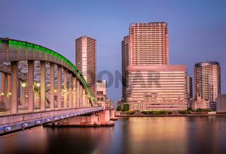 Kachidoki Bridge and Sumida River in the Evening, Tokyo, Japan