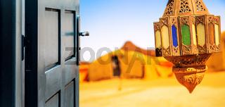 Opened door concept to beautiful berber camp on desert
