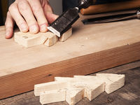 Wood working with a chisel
