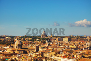Rome aerial view with the Papal Basilica of St. Peter