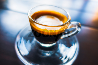 Espresso coffee in glass cup