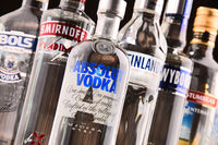 Bottles of assorted global vodka brands