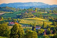 Green landscape of Medjimurje region view from hill