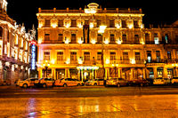 Havana, Cuba - December 13, 2016:  Night view of the Gran Teatro de La Habana (Great Theatre of Havana) and the famous hotel Inglaterra near the Central Park in Havana, Cuba
