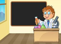 Chemistry teacher by blackboard