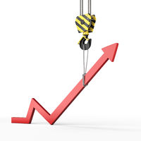 3D rendering of a crane hook with a growth chart