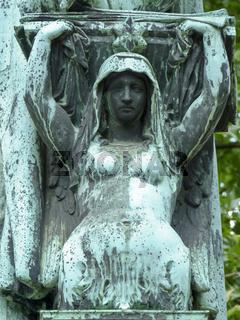 Detail am Denkmal des Komponisten Heinrich Marschners