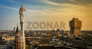 Skyline of Milan, Italy at sunset. View from the Roof Terrance of Duomo Di Milano