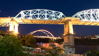 Night Bridges Cumberland River Nashville Tennessee