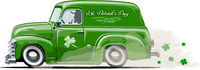 Vector Saint Patrick's retro cartoon van