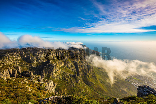 The Table Mountain and ocean