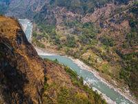 Aerial view of Kali Gandaki river in Kusma, Nepal