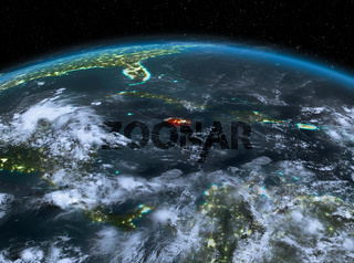 Jamaica from space at night