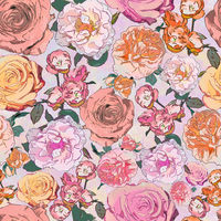 seamless background drawing - rose flowers