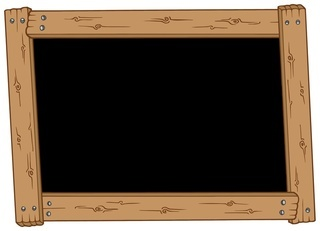 Wooden blackboard on white background - isolated illustration.