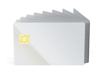 Many blank plastic cards with chip