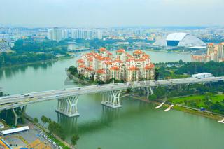 Singapore cityscape, birds-eye view