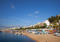 Blanes Beach With Motorboats and Kayaks