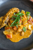 Gourmet spice curry rock lobster.