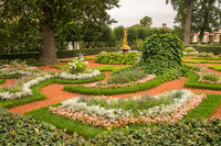 Ornate gardens at Peterhof Palace in Russia