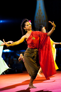 Traditional Thai Woman Dance Night Outdoor Stage