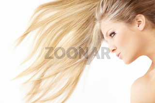 Close up of hair and face of beautiful lying blonde