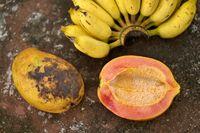 Colorful papayas and bananas