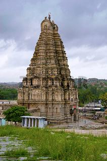 View of Virupaksha Temple from Hemakuta Hill, also known as the Pampavathi temple, Hampi, Karnataka, India.