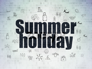 Tourism concept: Summer Holiday on Digital Data Paper background