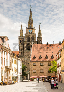 Tourists at St. Gumbertus church in Ansbach