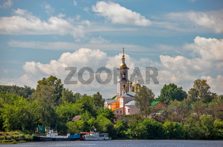 Church in small town on river bank