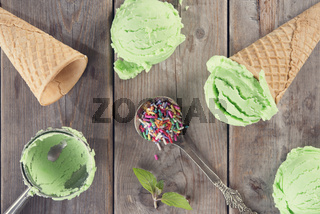Top view green ice cream