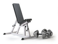 Barbell bench with weight dumbbells isolated on white.