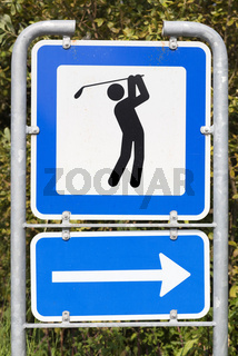 Golf course road sign