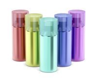 Multicolored aerosol spray cans