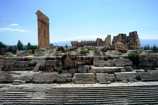 Ruins of Jupiter temple and great court of Heliopolis in Baalbek, Bekaa valley Lebanon